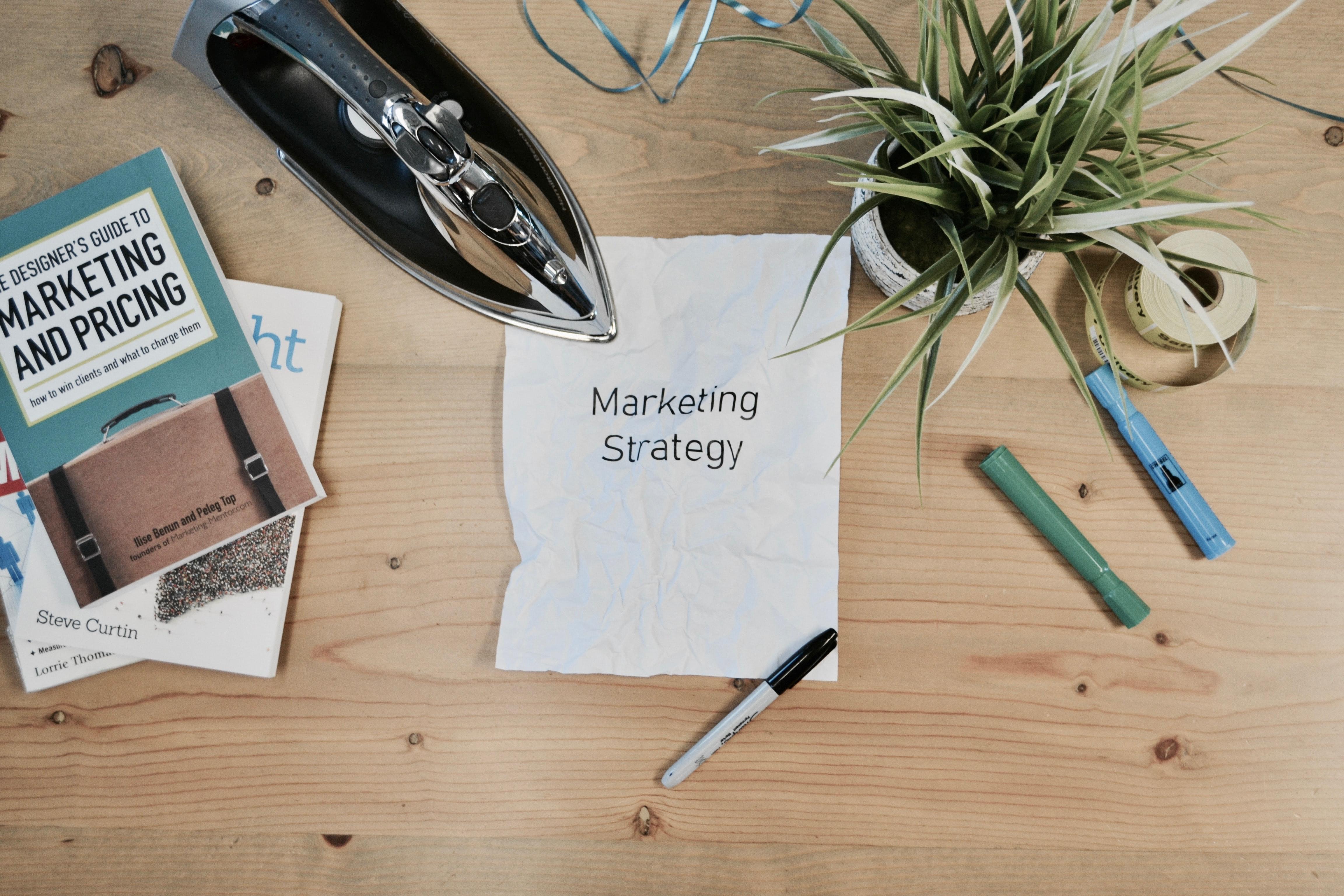 marketing mindset written on  a piece of paper on a desk